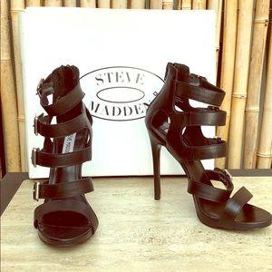 STEVE MADDEN Black Recital Straped Sandal Heel 7.5